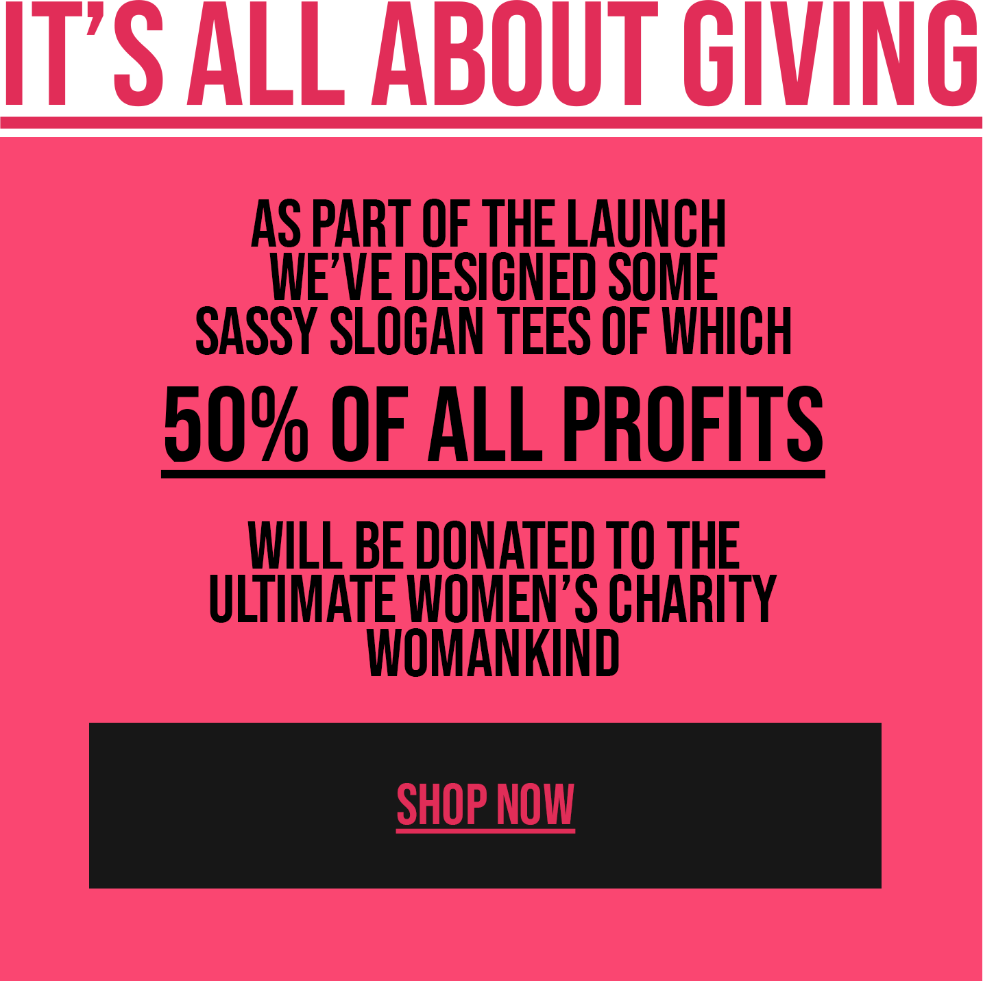 It's all about giving